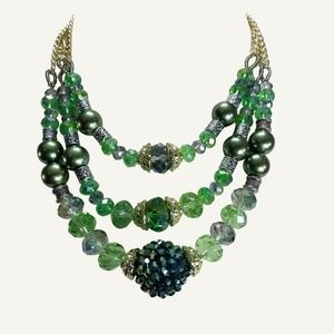 Jewelry - Green Gold Necklace Crystals Pearls Silver Bead